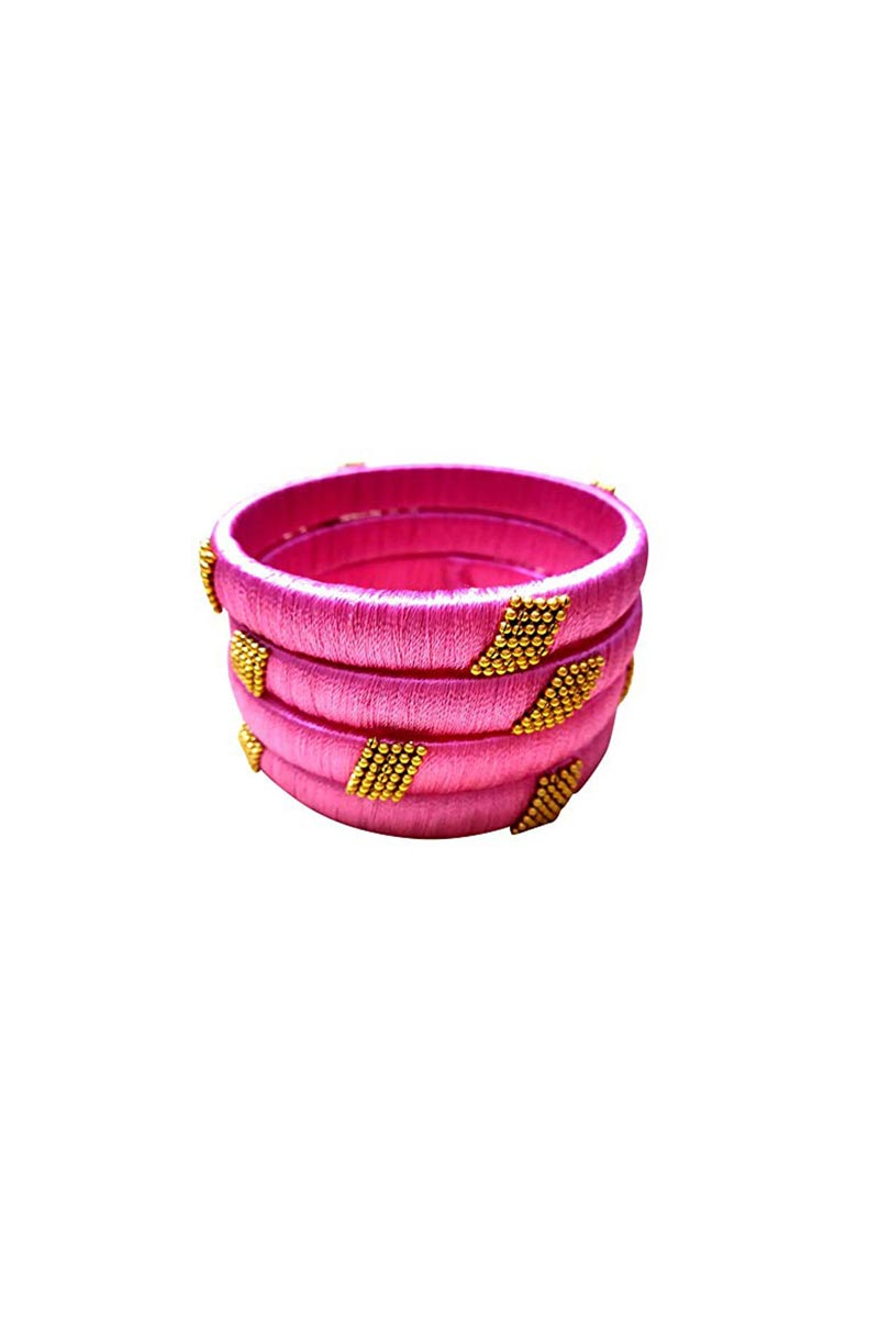 Designer Pink Handmade Silk Thread Stylish Bangles Set