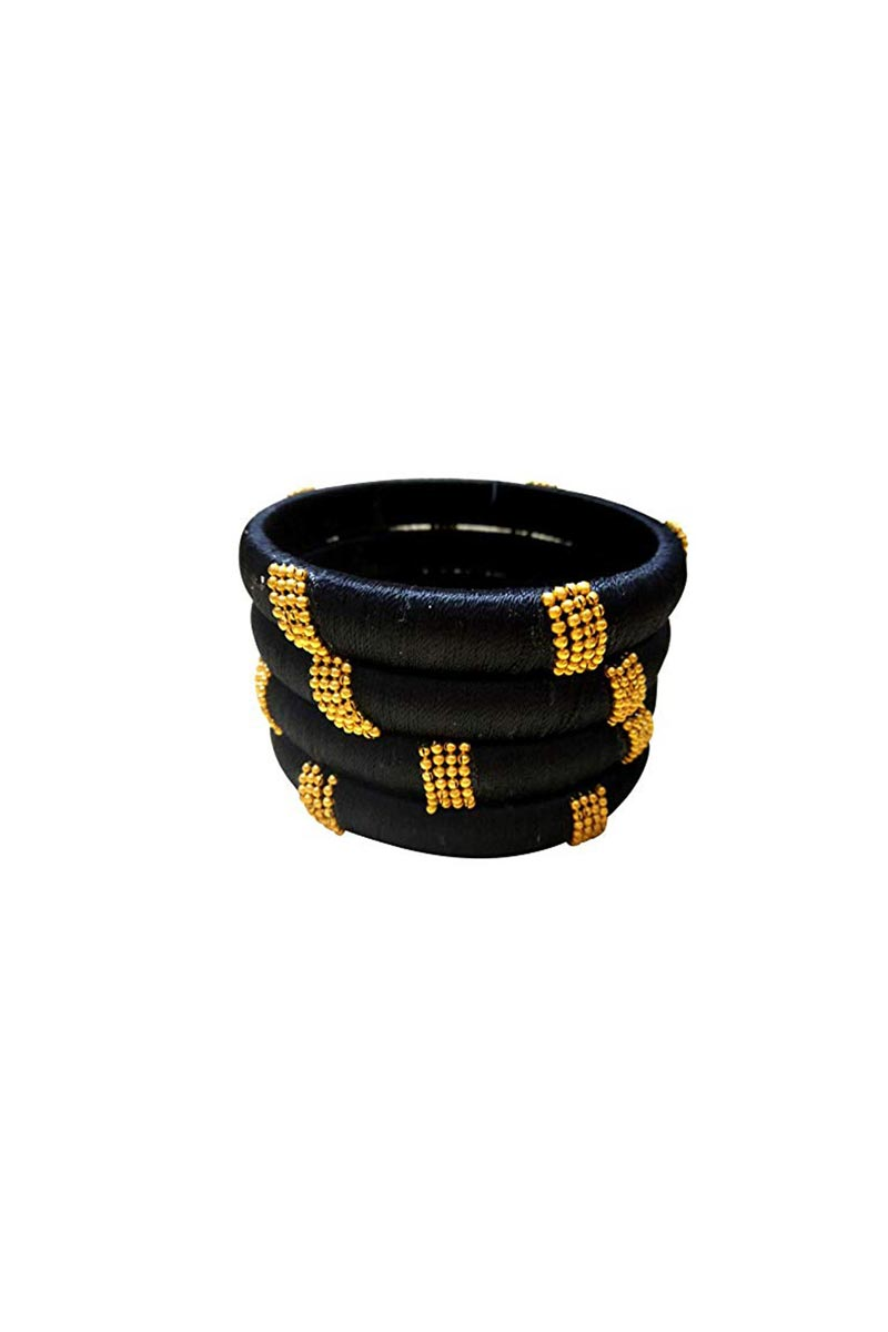 Customized Designer Silk Thread Classy Bangles Set In Black