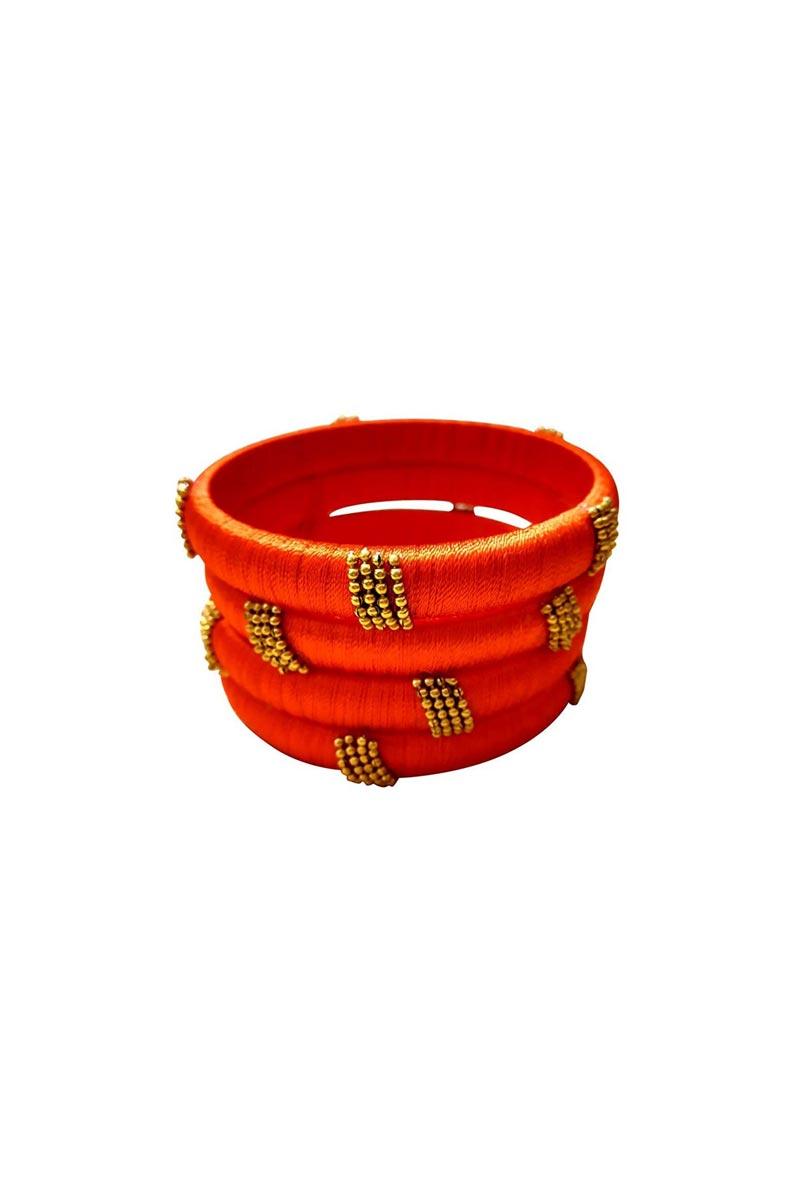 Designer Orange Handmade Silk Thread Stylish Bangles Set