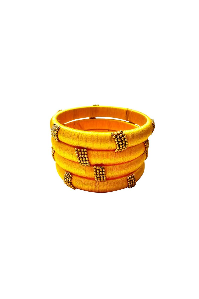 Customized Designer Silk Thread Classy Bangles Set In Mustard