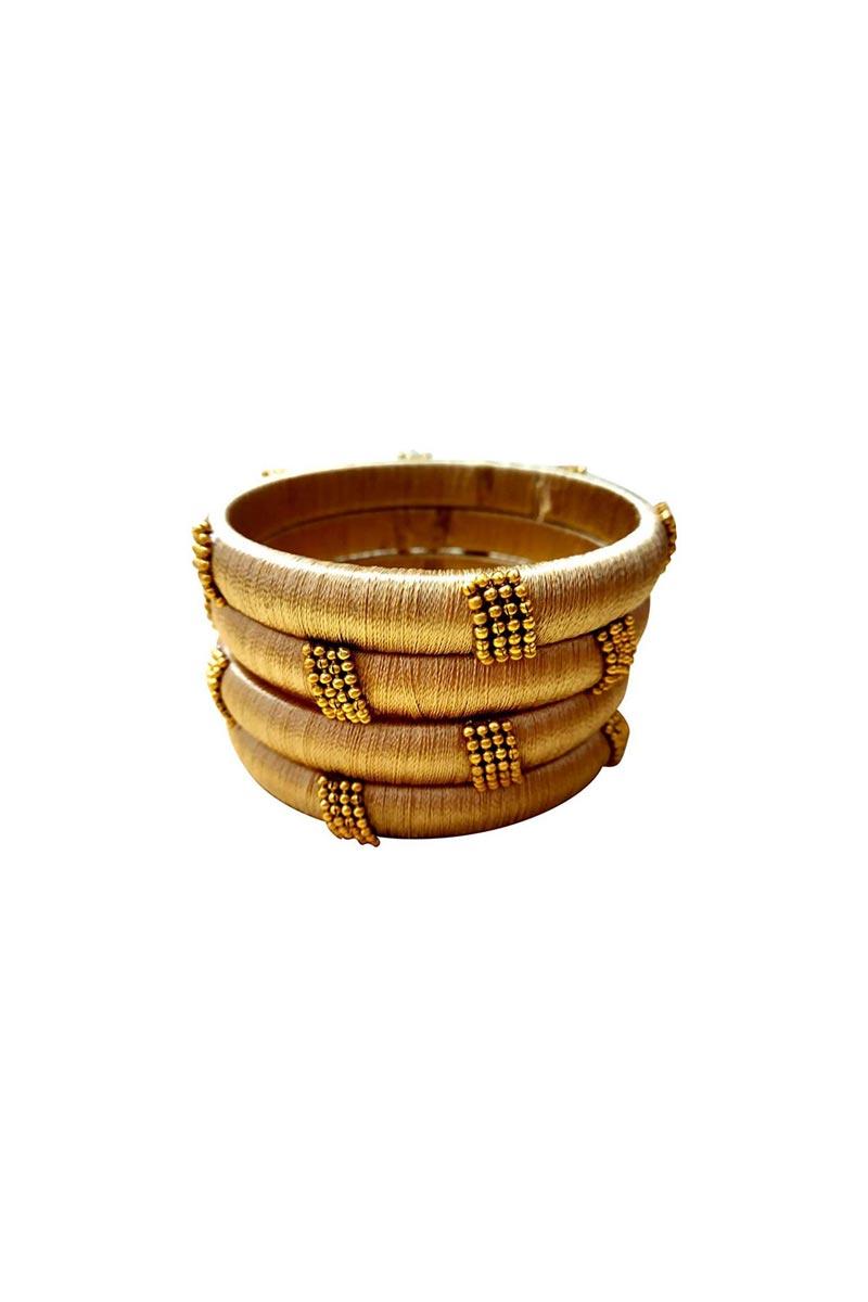 Designer Beige Handmade Silk Thread Stylish Bangles Set