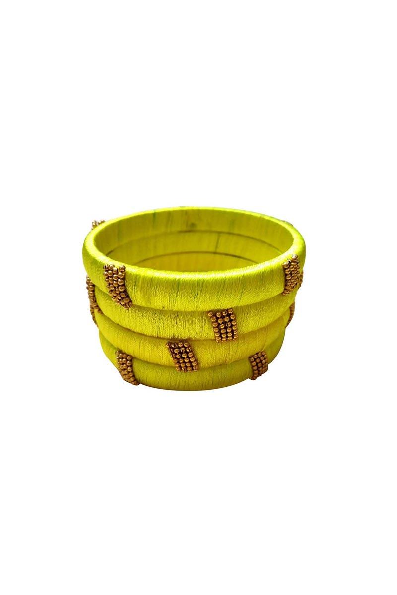 Customized Designer Silk Thread Classy Bangles Set In Yellow