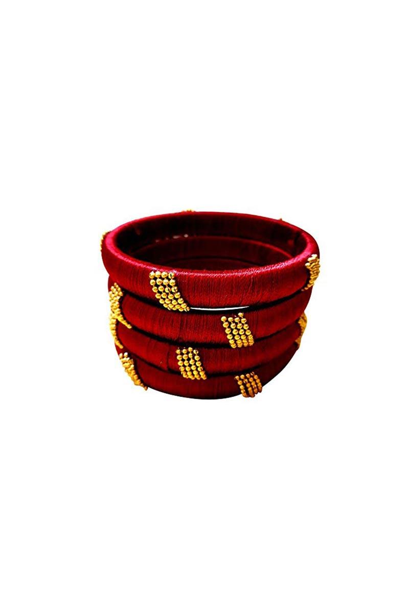 Designer Maroon Customized Silk Thread Classy Bangles Set
