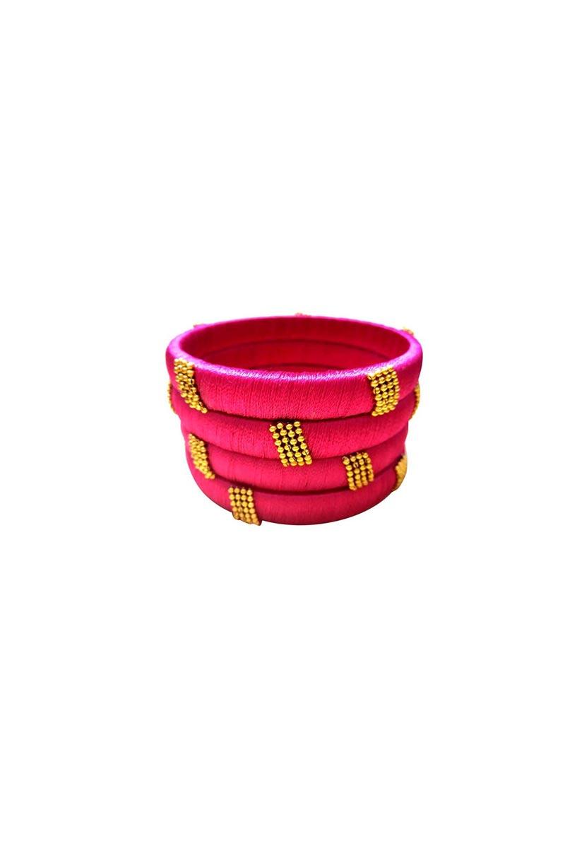 Designer Rani Color Handmade Silk Thread Stylish Bangles Set