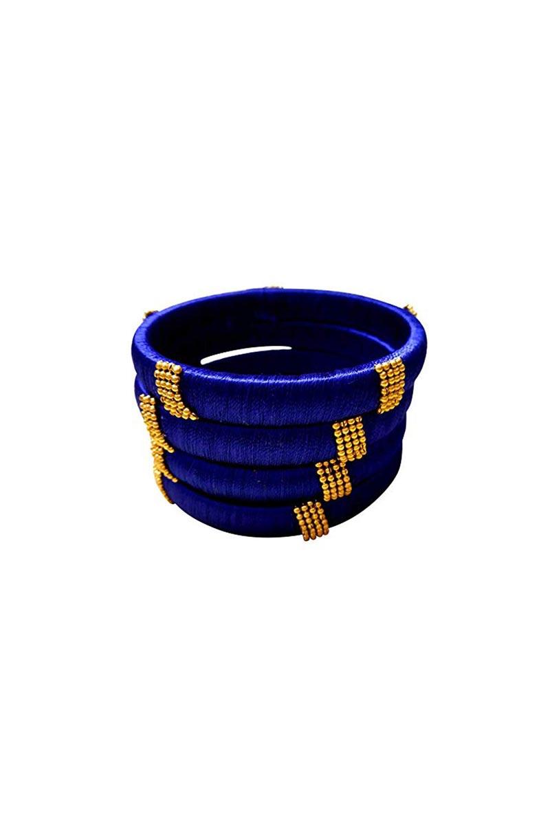 Customized Designer Silk Thread Classy Bangles Set In Blue