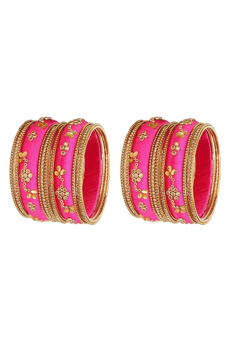 Designer Rani Color Handmade Stylish Silk Thread Bangles Set