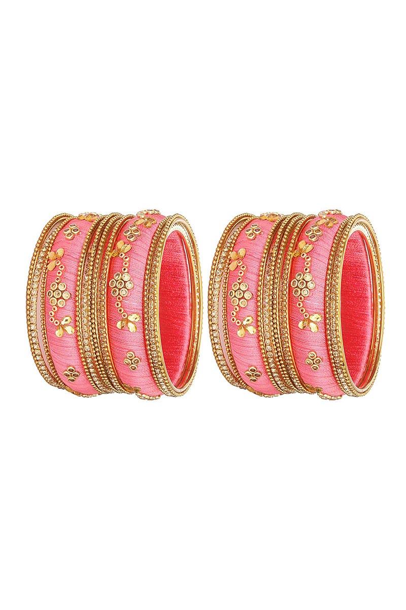 Classy Customized Designer Silk Thread Bangles Set In Pink