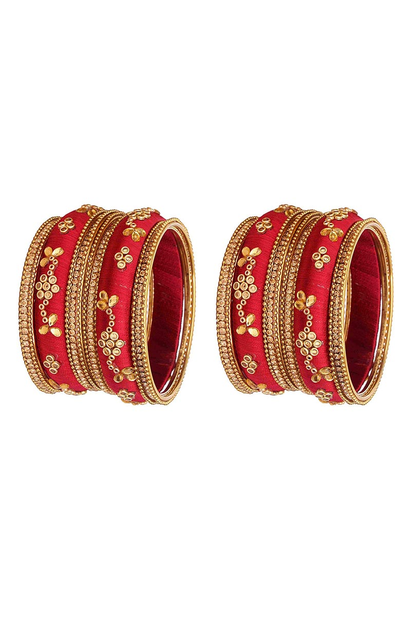 Classy Customized Designer Silk Thread Bangles Set In Maroon