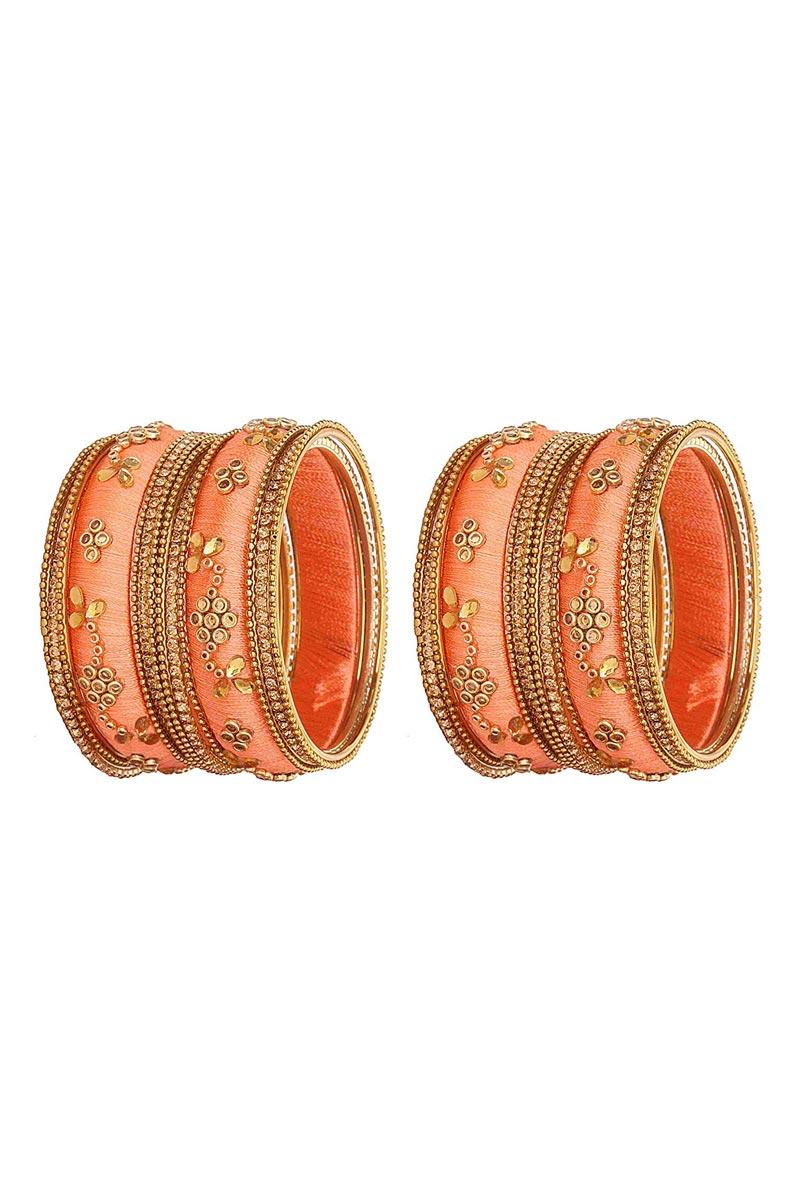 Designer Peach Customized Classy Silk Thread Bangles Set
