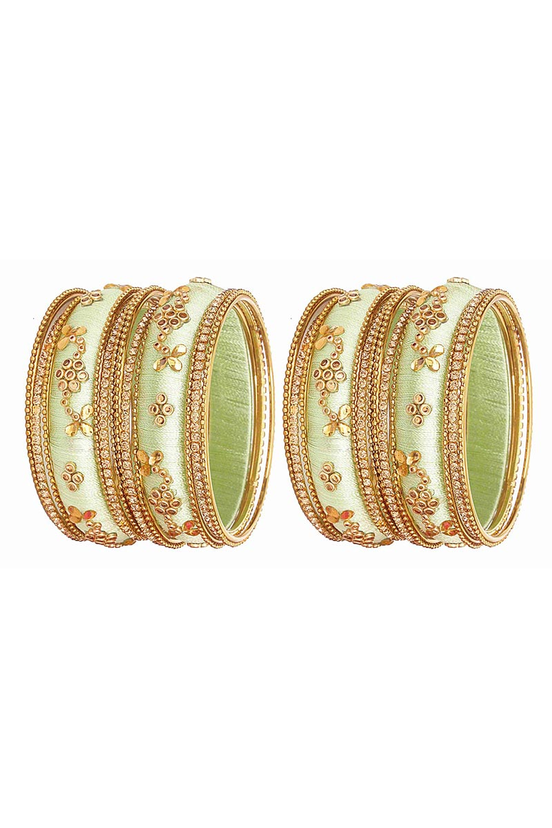 Designer Sea Green Handmade Stylish Silk Thread Bangles Set