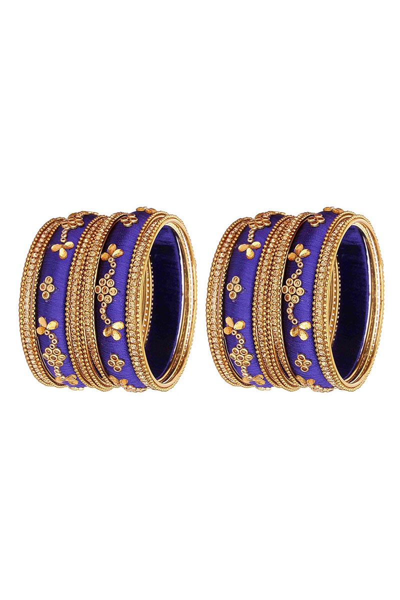 Designer Blue Customized Classy Silk Thread Bangles Set