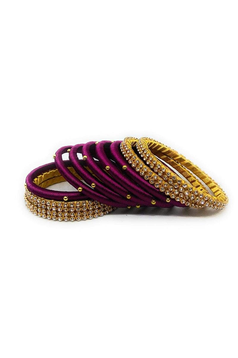 Designer Purple and Yellow Color Customized Classy Silk Thread Bangles Set