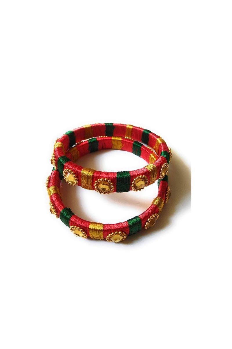 Designer Multi Color Handmade Stylish Silk Thread Patla Bangles