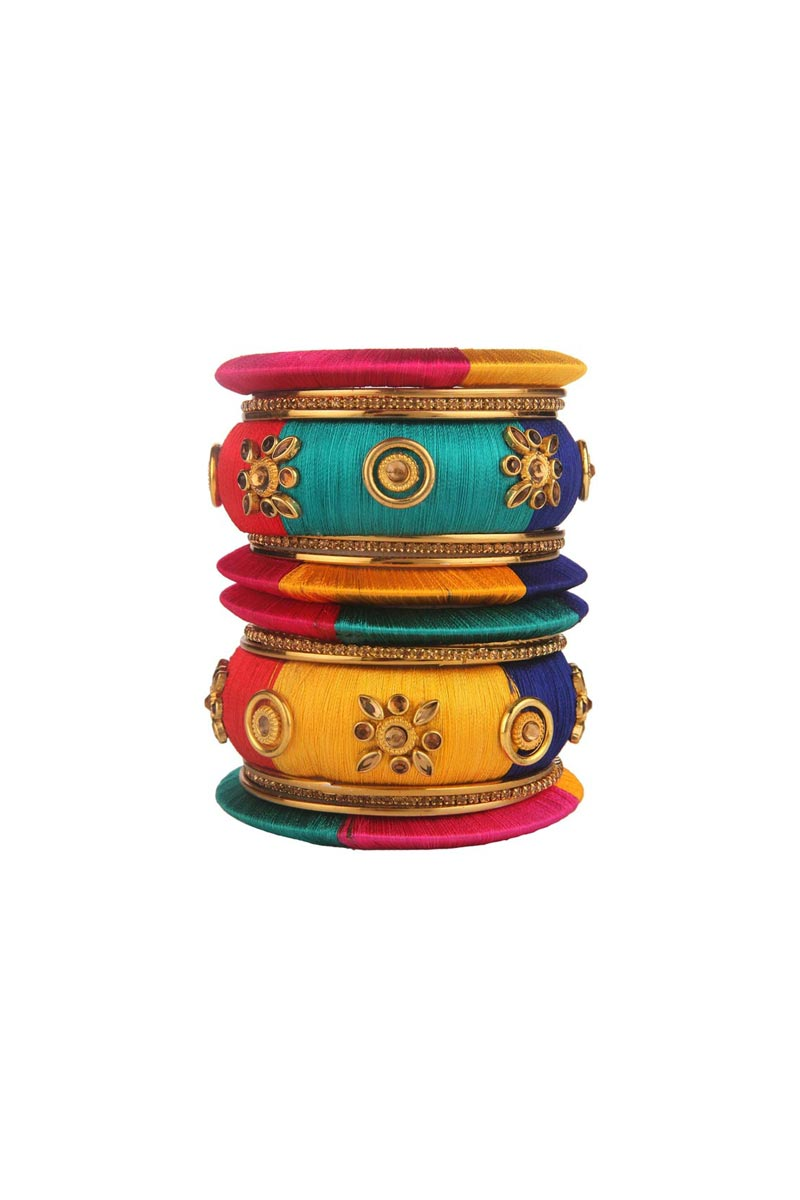 Designer Multi Color Customized Classy Silk Thread Bangles Set