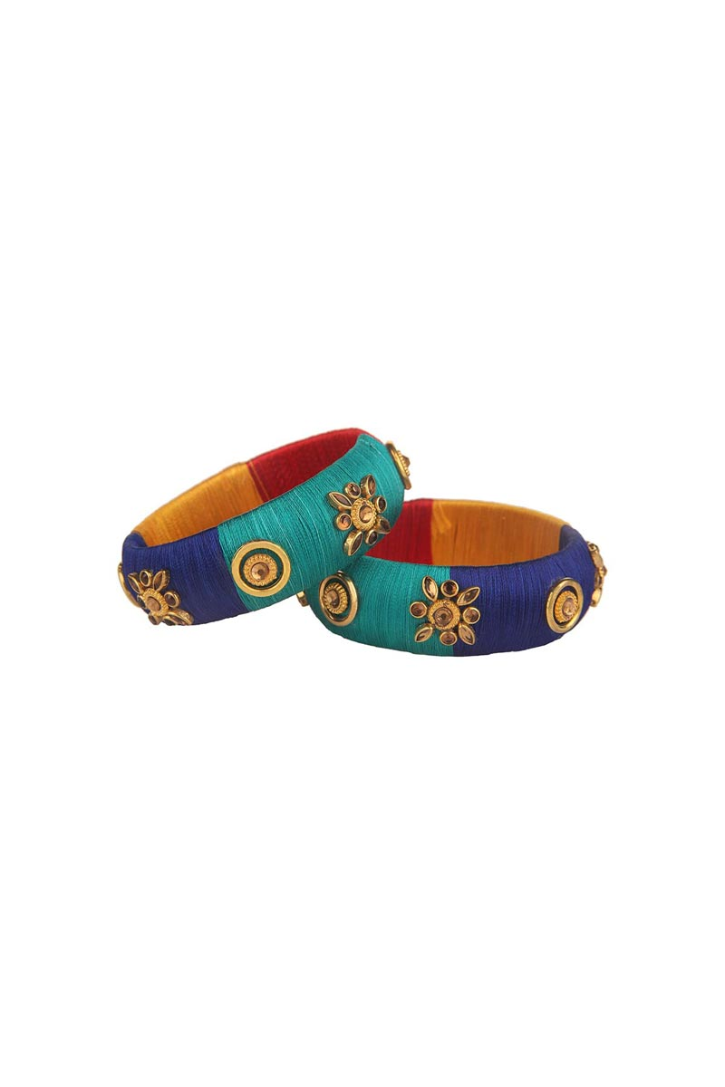 Multi Color Designer Handmade Stylish Silk Thread Patla Bangles