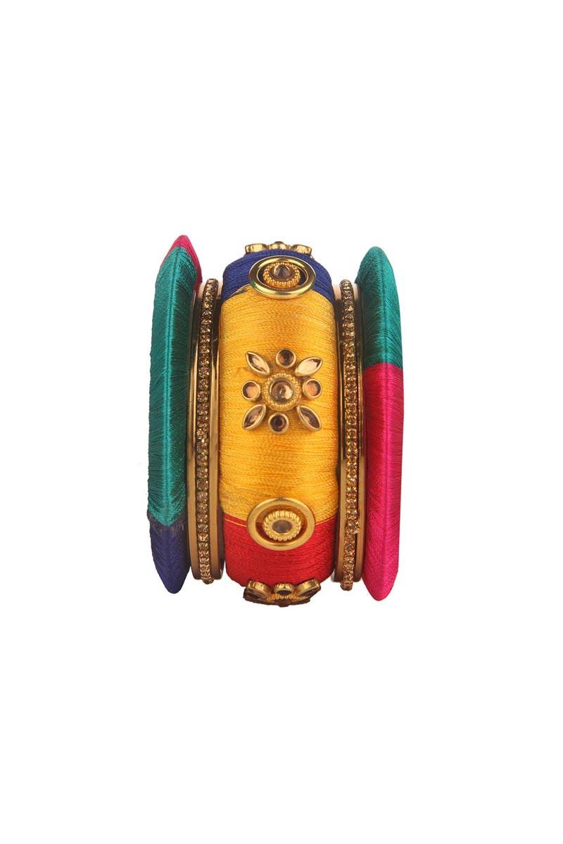 Classy Customized Designer Silk Thread Bangles Set In Multi Color