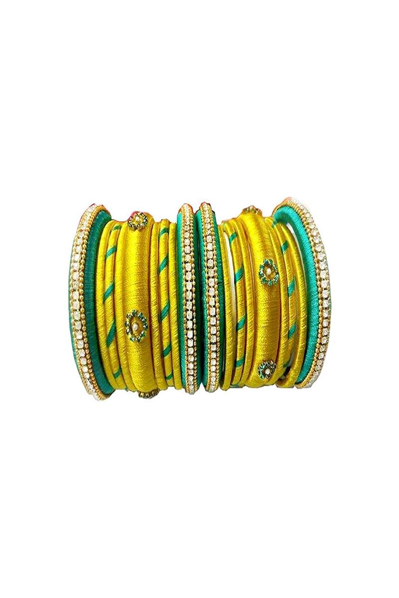 Designer Yellow Color Customized Classy Silk Thread Bangles Set