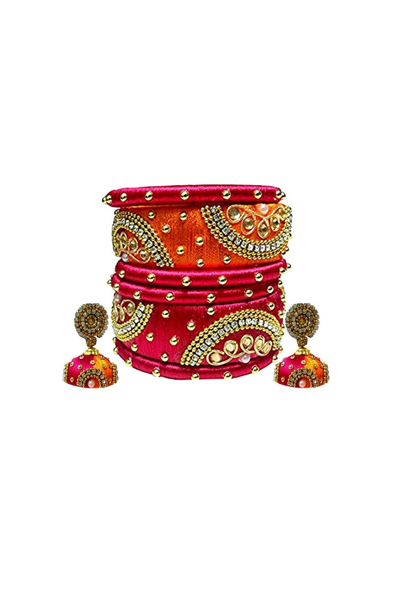Designer Orange and Rani Color Handmade Stylish Silk Thread Bangles Set With Earrings