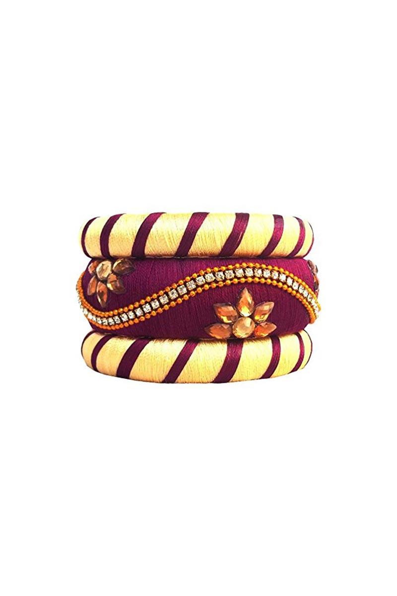 Classy Customized Designer Silk Thread Patla Bangles In Beige and Purple Color