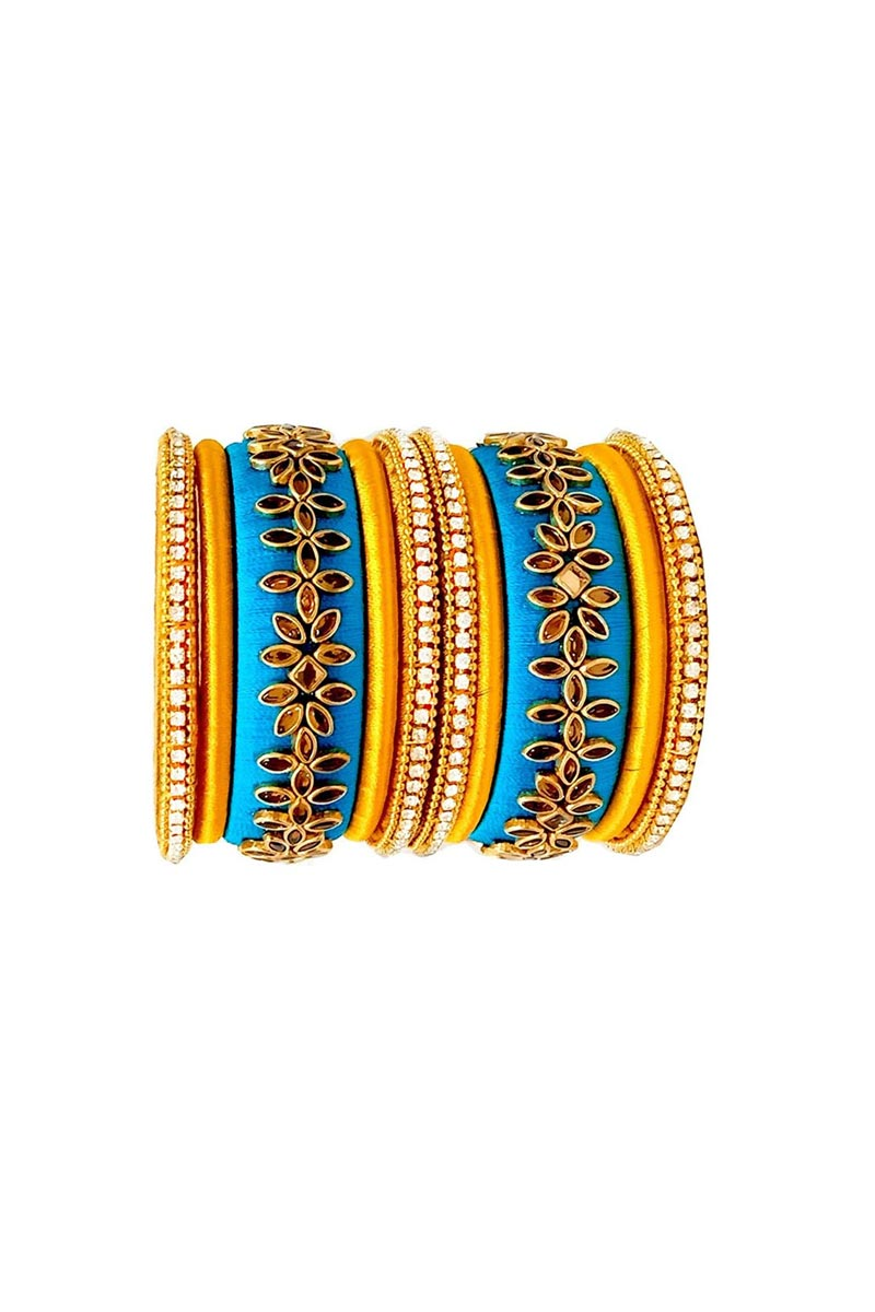 Designer Mustard and Sky Blue Color Customized Classy Silk Thread Bangles Set