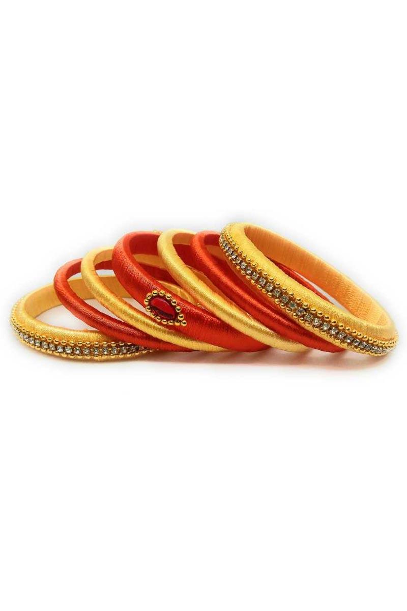 Designer Orange and Yellow Color Handmade Stylish Silk Thread Bangles Set