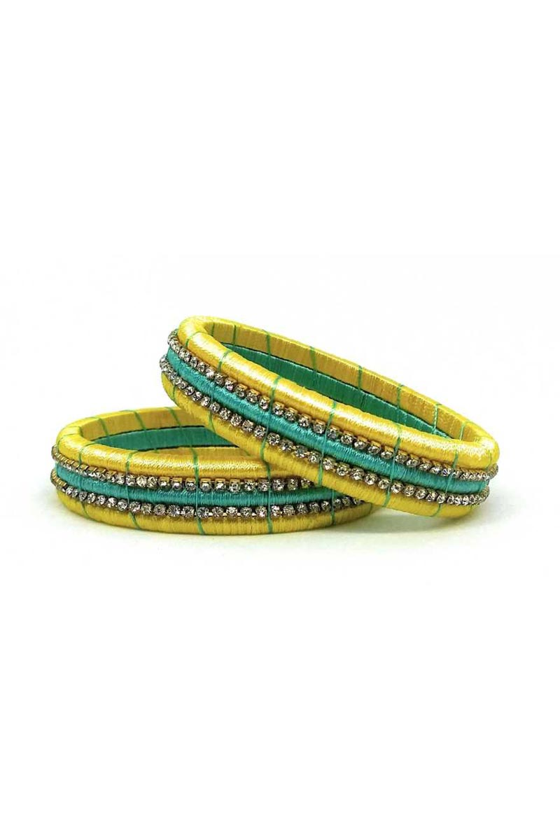 Classy Customized Designer Silk Thread Bangles Set In Cyan and Yellow Color