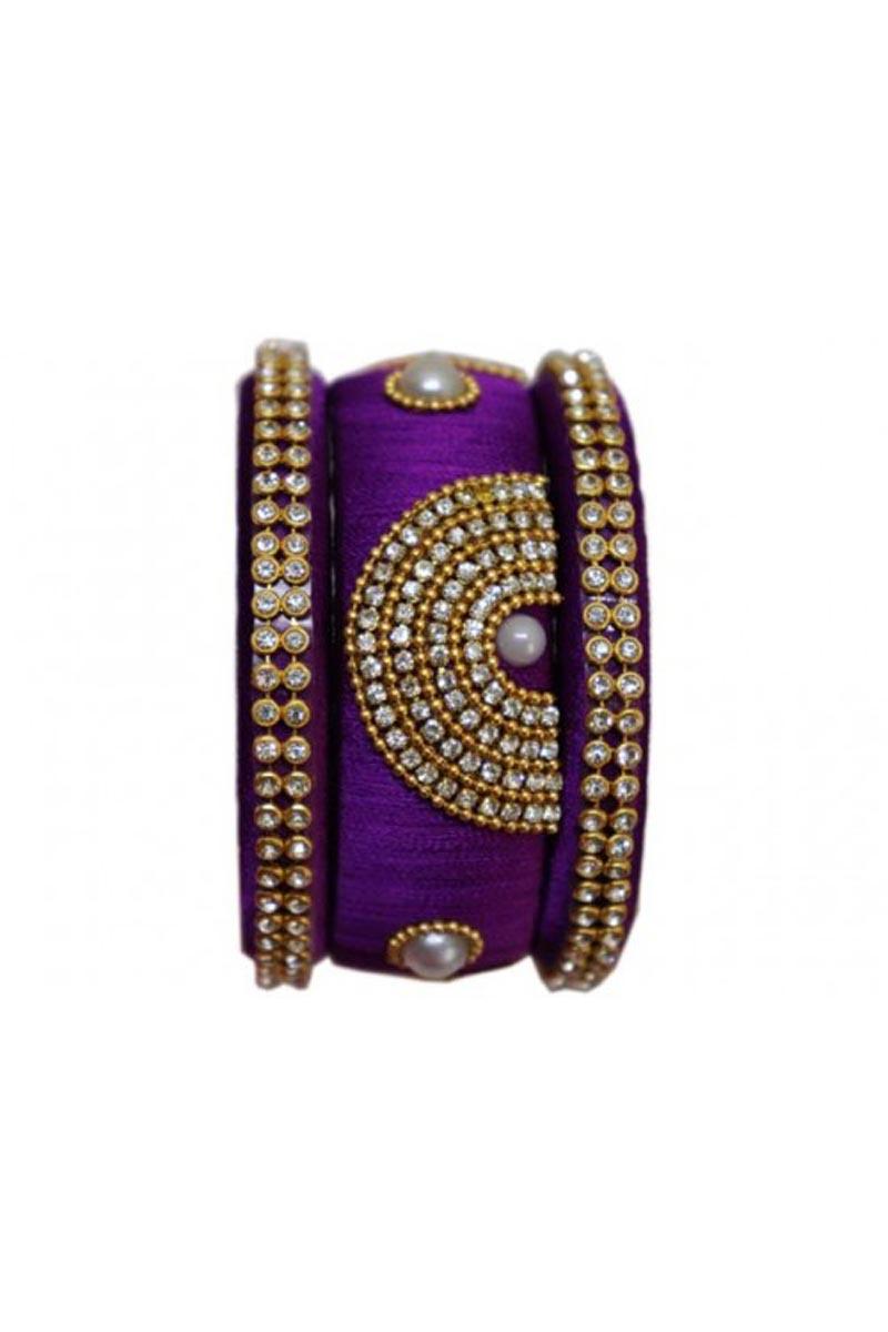 Ethnic Wear Silk Thread Work Customized Handmade Bangles Set In Purple