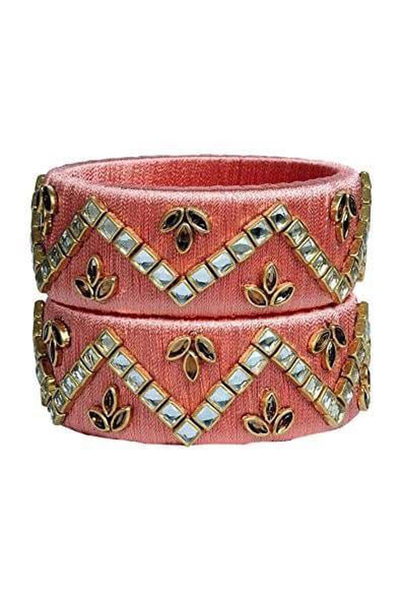 Silk Thread Work Ethnic Style Customized Handmade Kada In Salmon Color