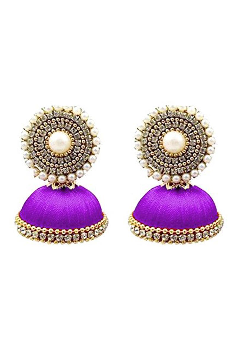 Customized Silk Thread Jhumka Purple Color Earrings