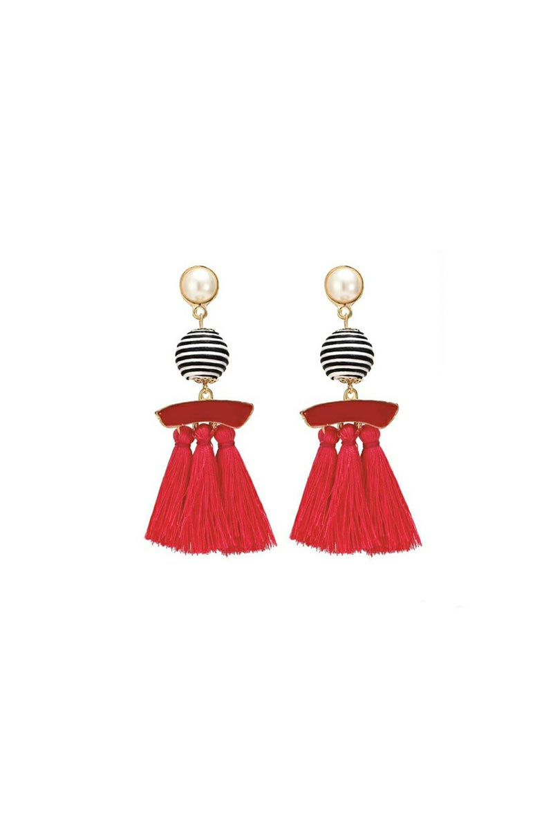 Fancy Red Color Party Style Designer Silk Thread Earrings