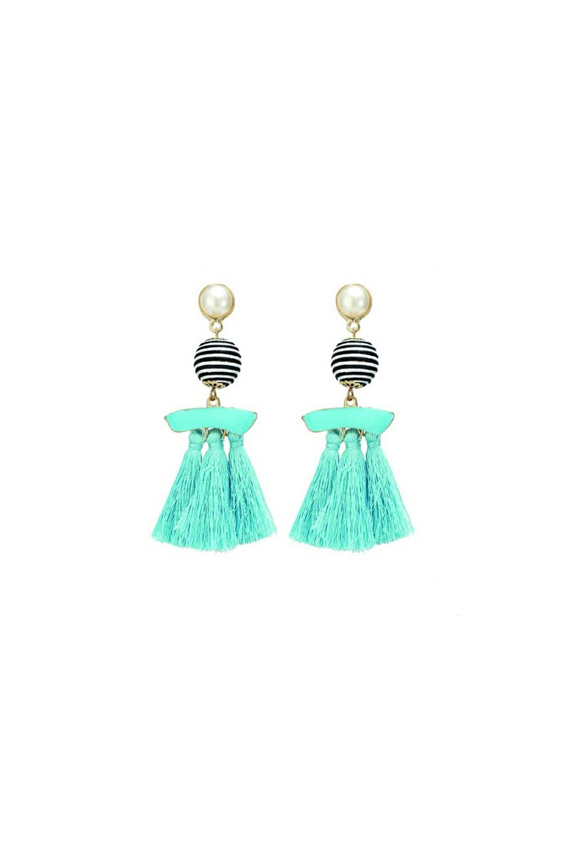 Beautiful Party Wear Cyan Color Designer Silk Thread Earrings