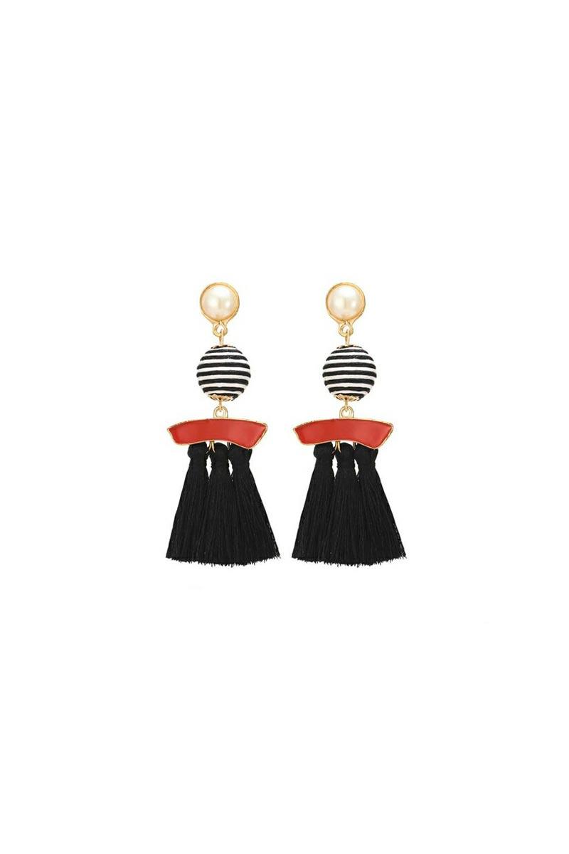 Designer Party Wear Silk Thread Earrings In Black Color