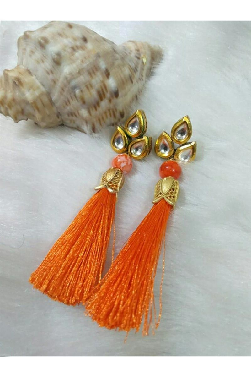 Graceful Designer Orange Color Party Style Silk Thread Earrings