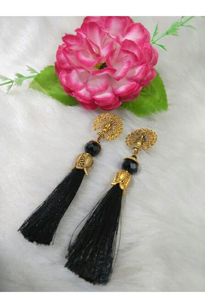 Black Color Party Style Fancy Silk Thread Earrings