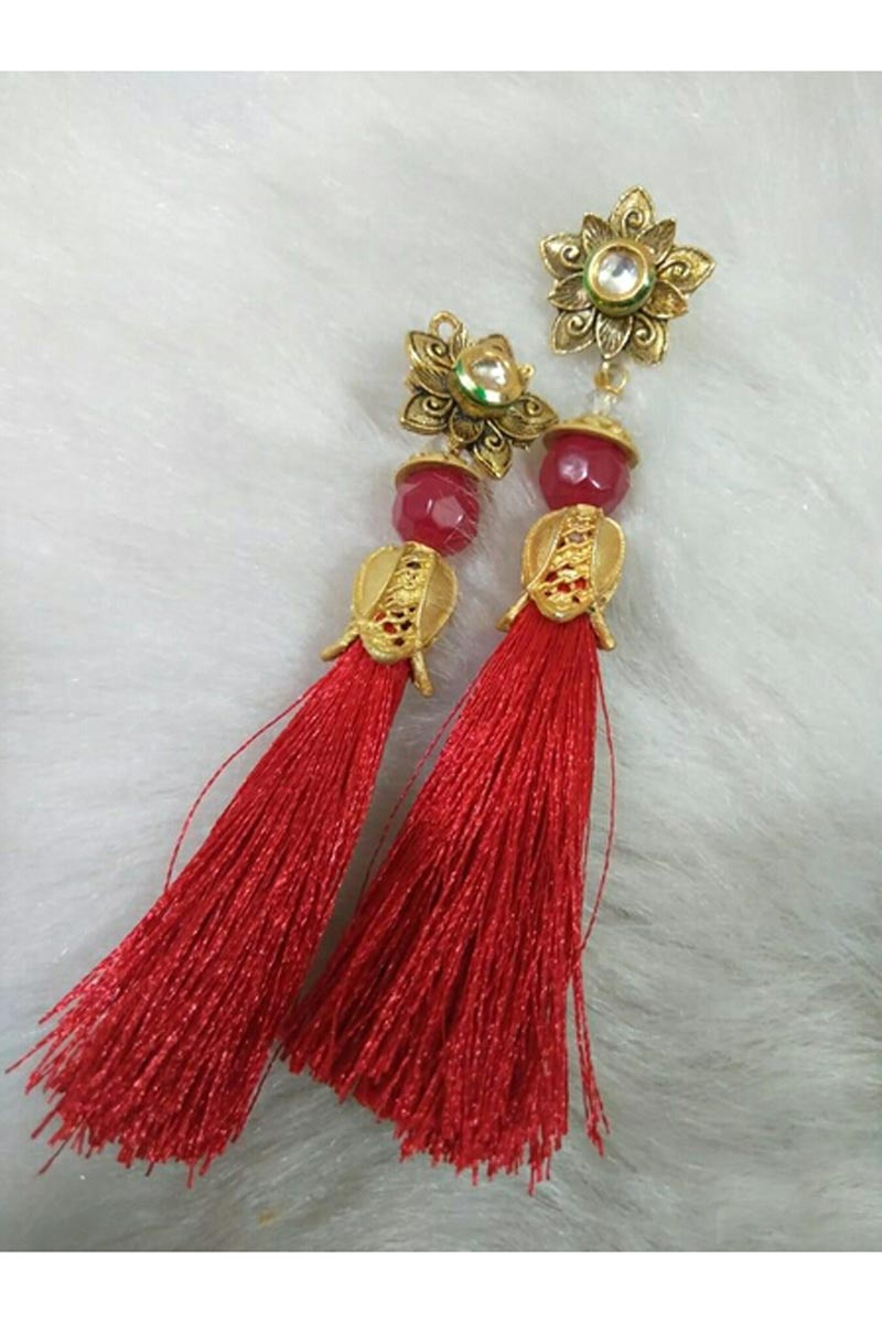 Fancy Party Style Red Color Designer Silk Thread Earrings