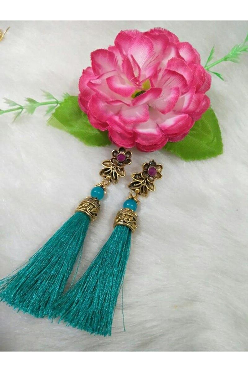 Beautiful Party Wear Cyan Color Silk Thread Earrings