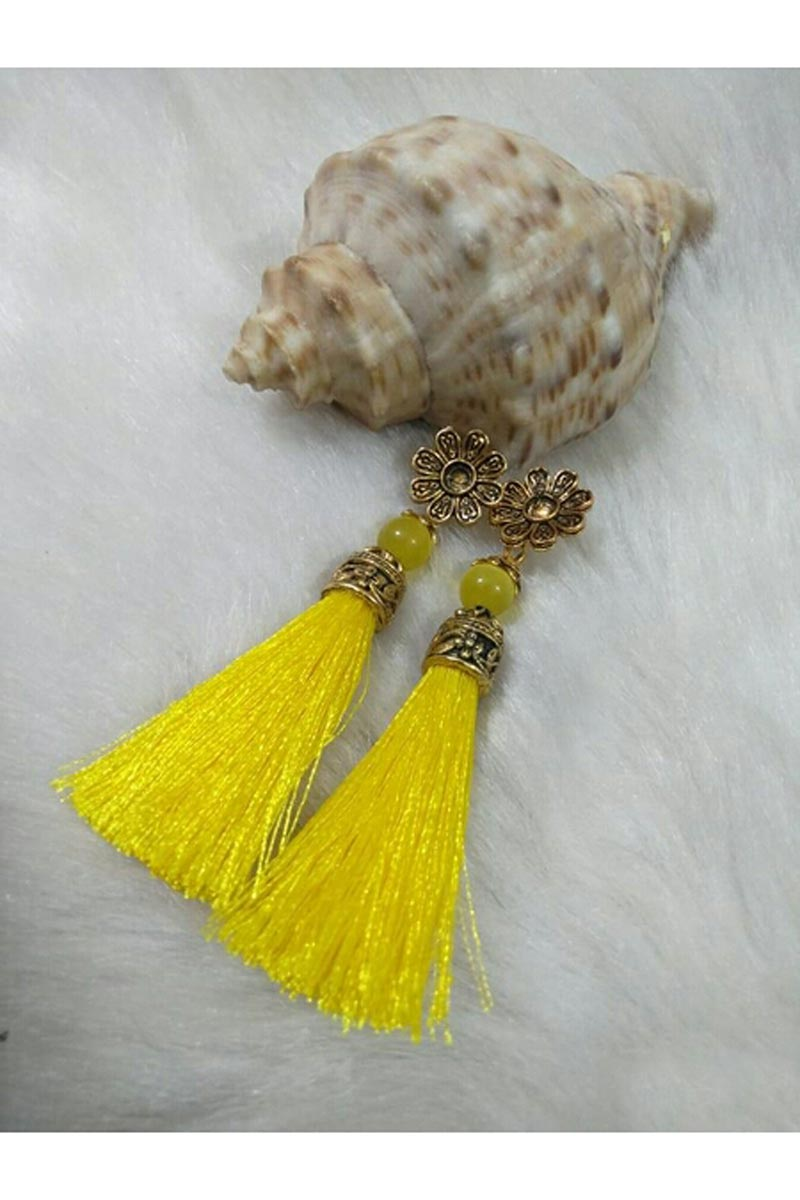 Designer Party Wear Silk Thread Earrings In Yellow Color
