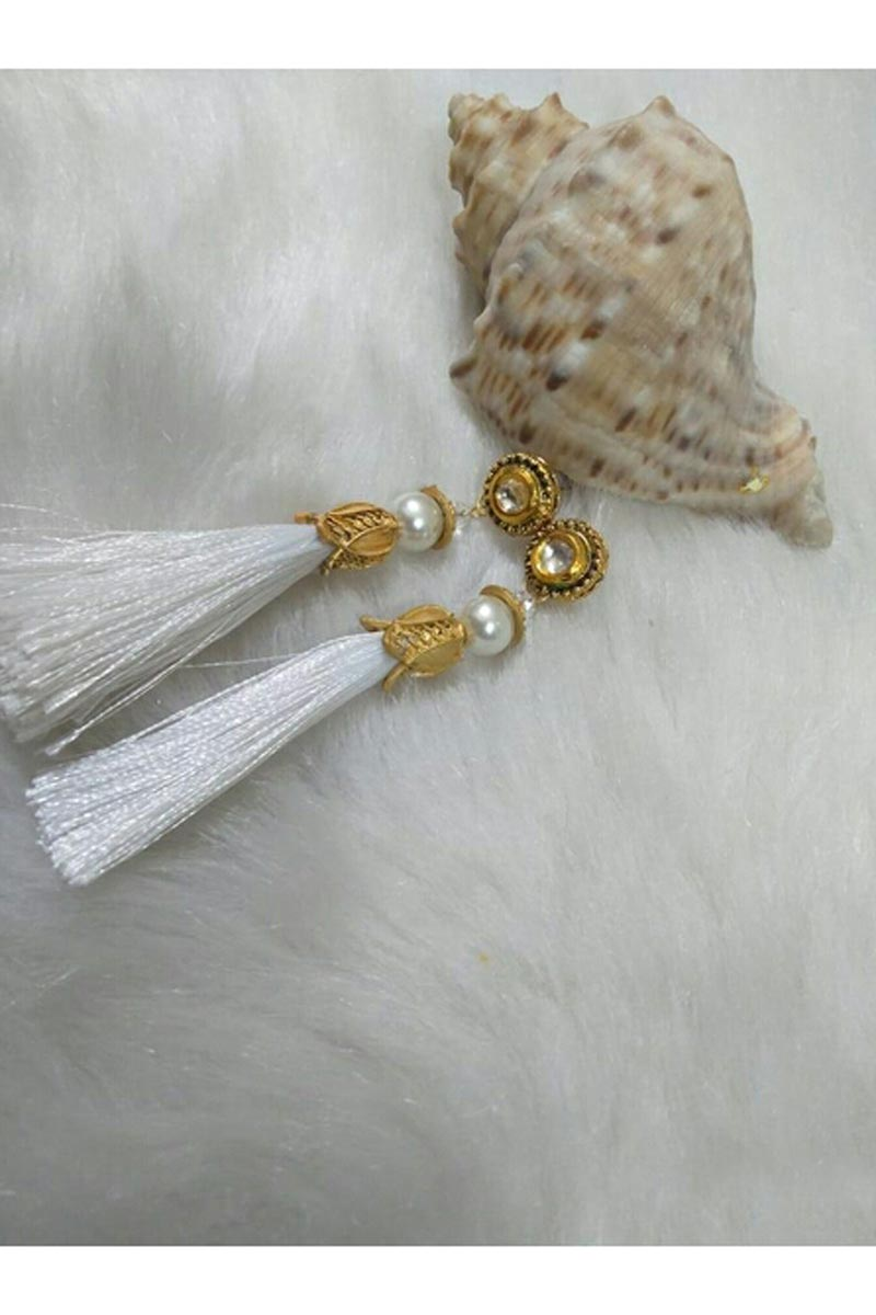 Graceful Designer White Color Party Style Silk Thread Earrings