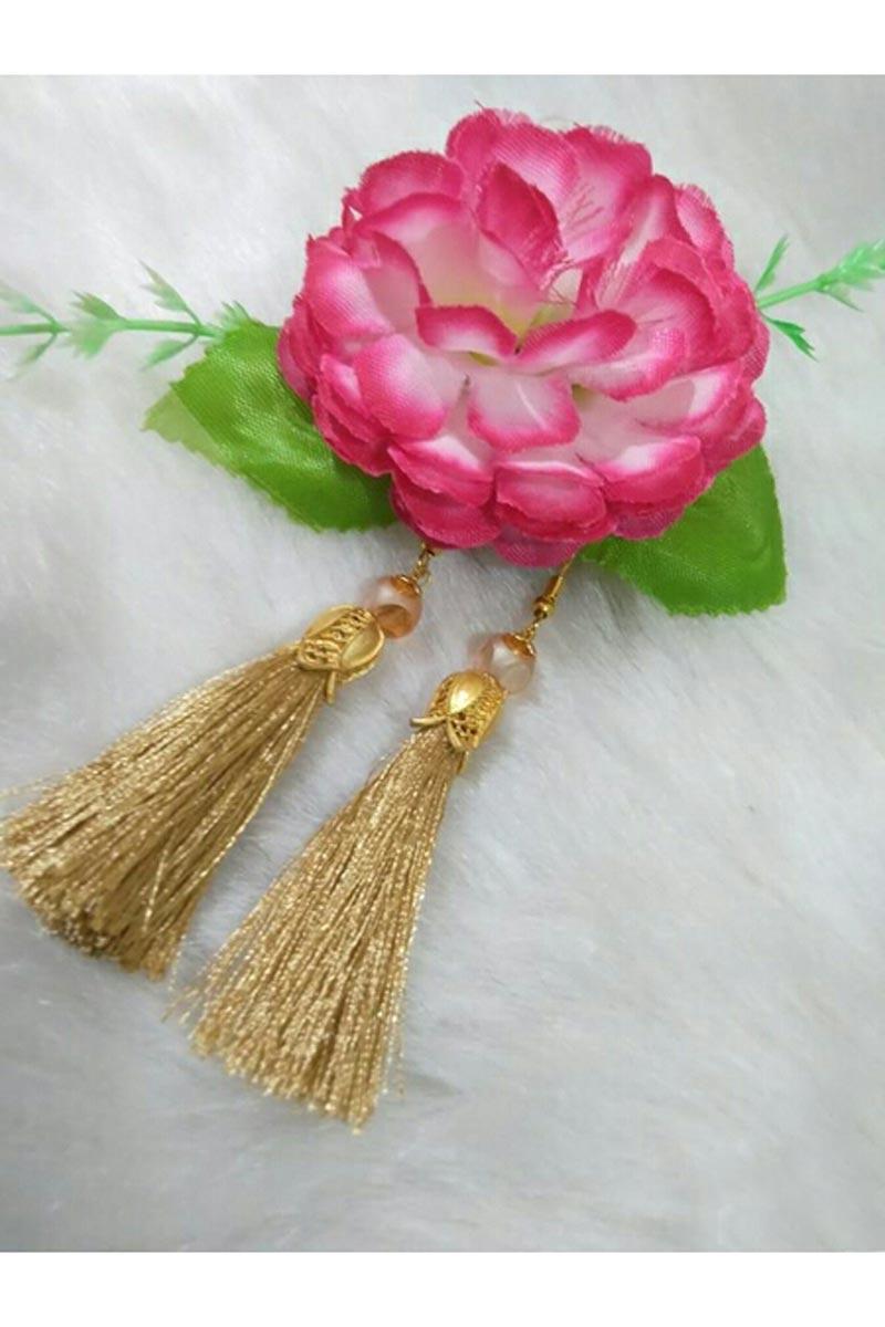 Fancy Party Style Beige Color Designer Silk Thread Earrings
