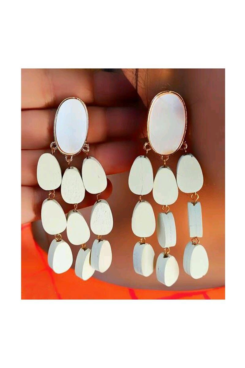 Designer Party Wear Earrings In White Color