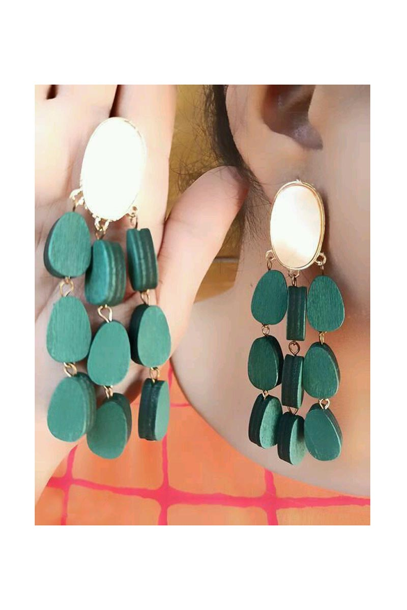 Graceful Designer Teal Color Party Style Earrings