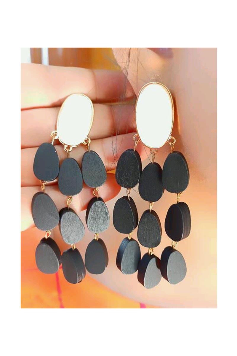 Party Style Fancy Earrings In Black Color