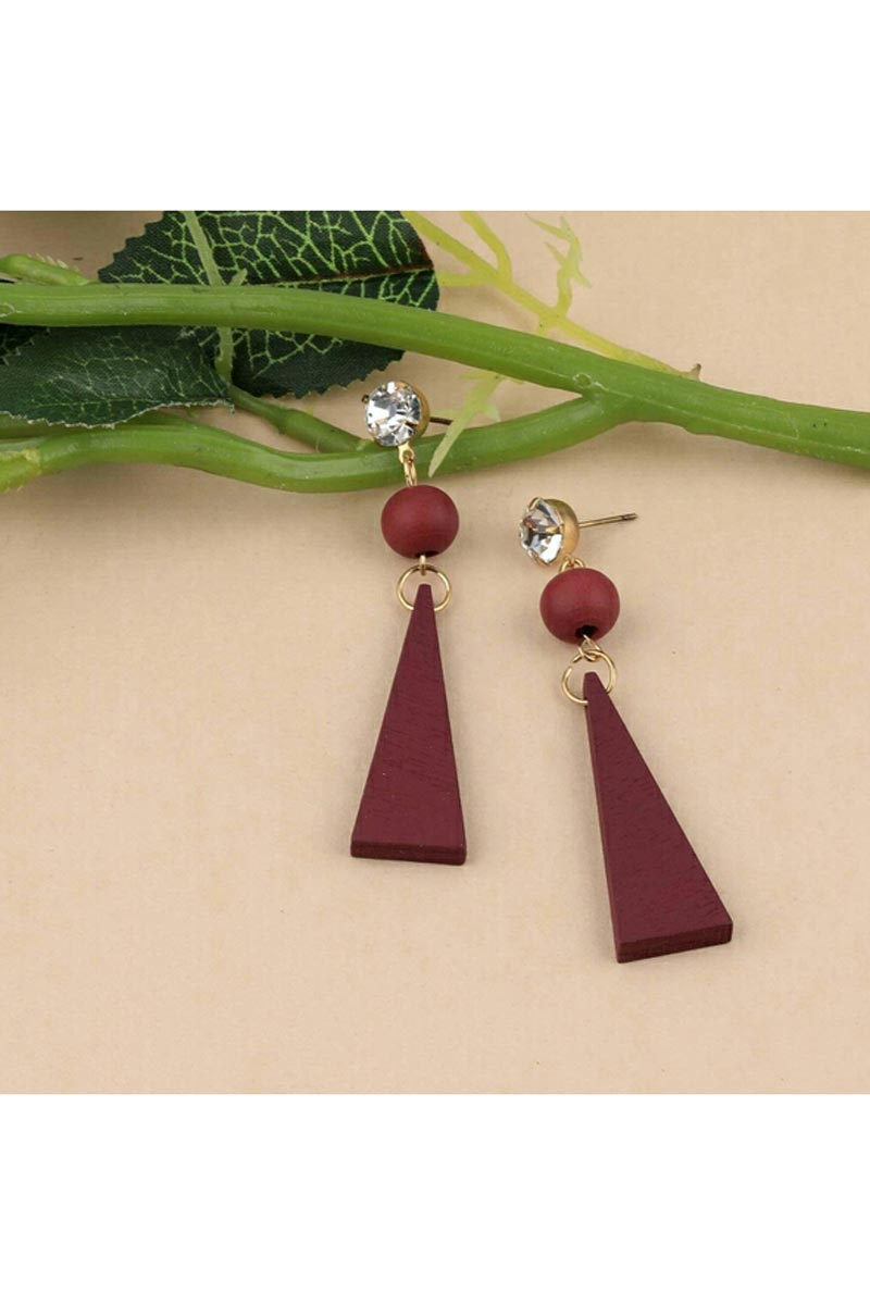 Graceful Designer Maroon Color Party Style Earrings