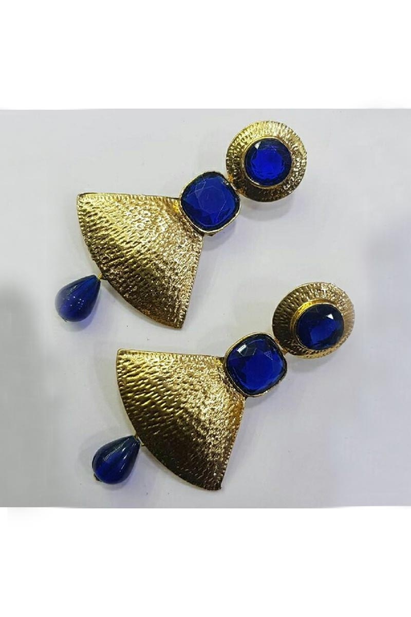 Beautiful Blue Color Designer Party Wear Earrings