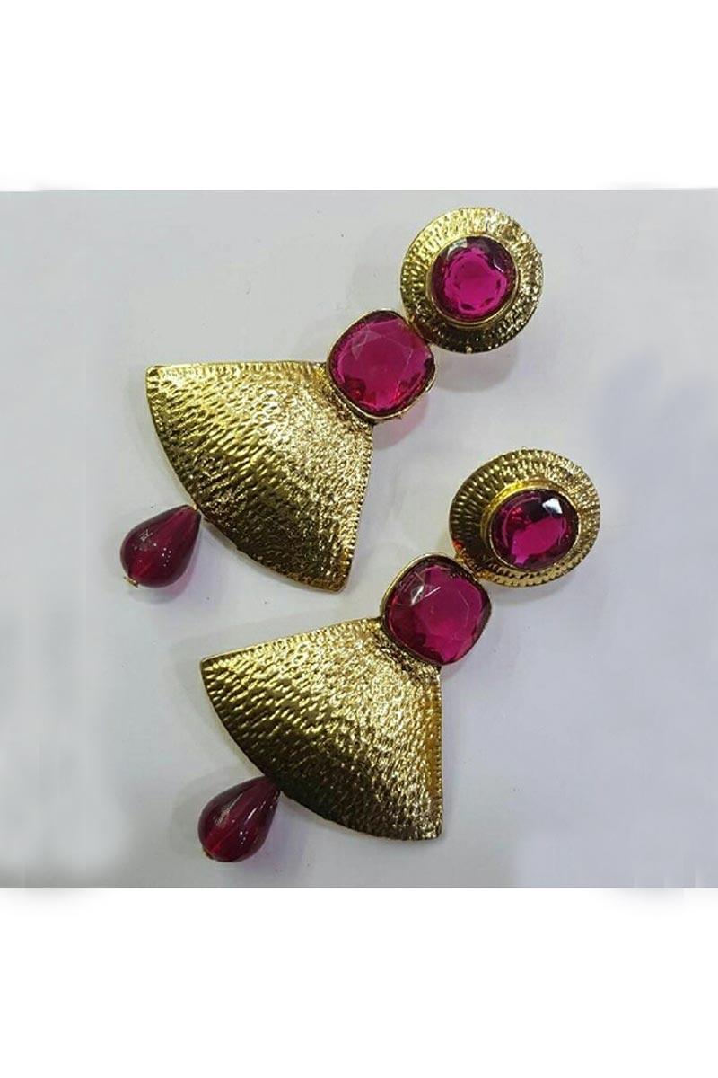 Designer Party Wear Earrings In Rani Color