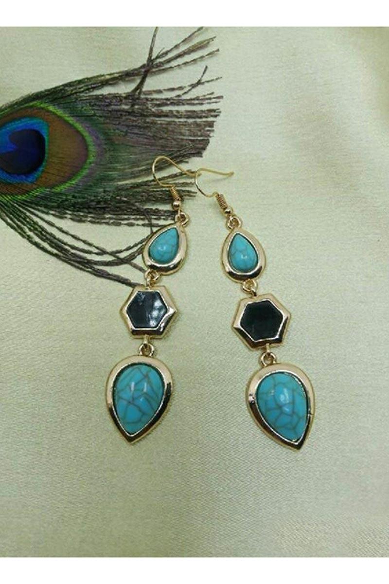 Fancy Party Style Cyan Color Designer Earrings