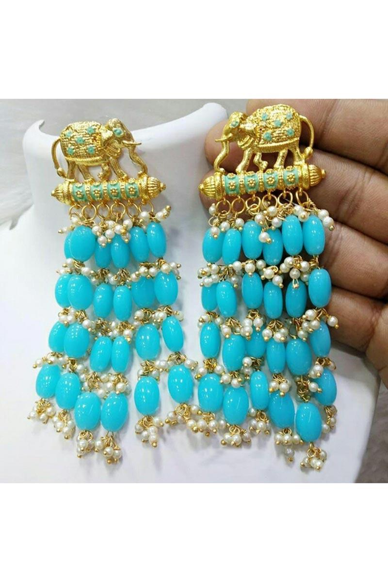 Beautiful Cyan Color Designer Party Wear Earrings