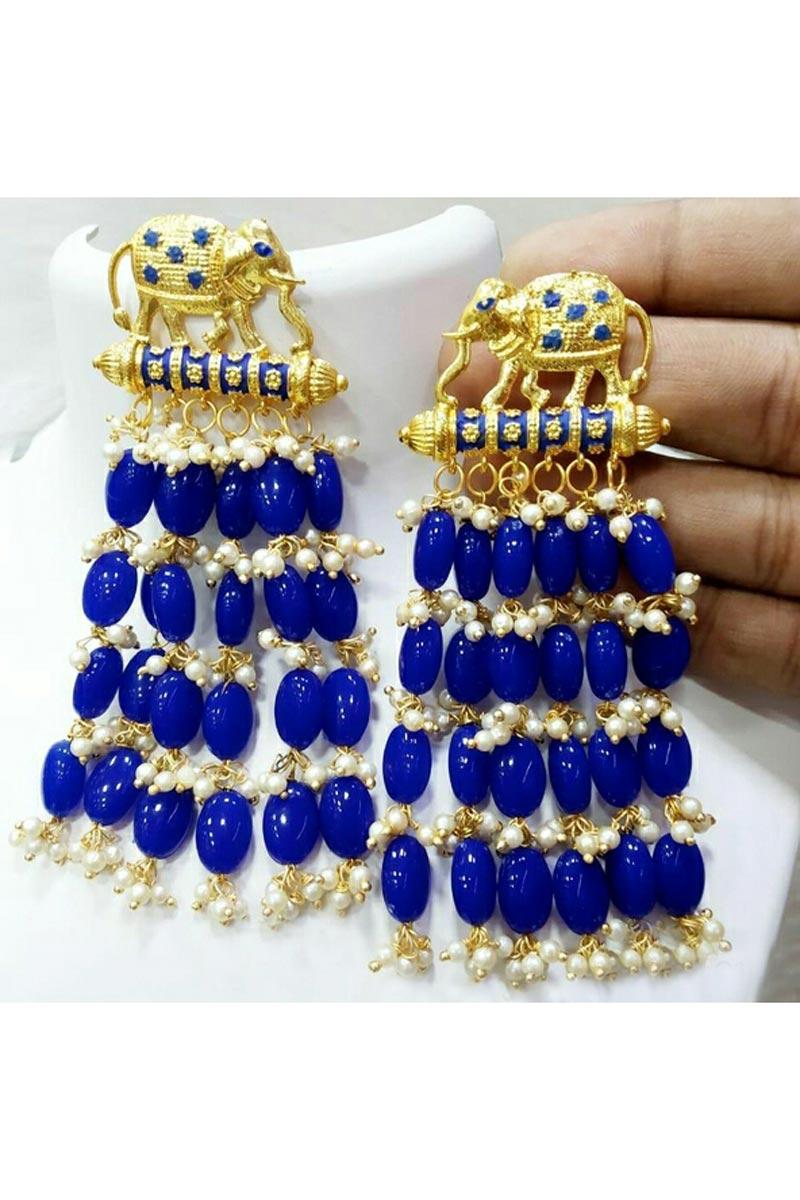Designer Party Wear Earrings In Blue Color