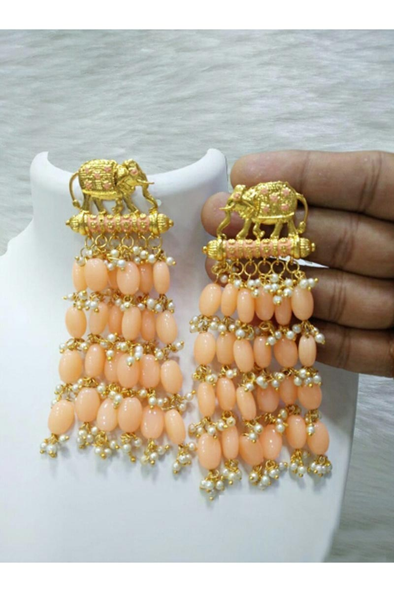 Graceful Designer Peach Color Party Style Earrings