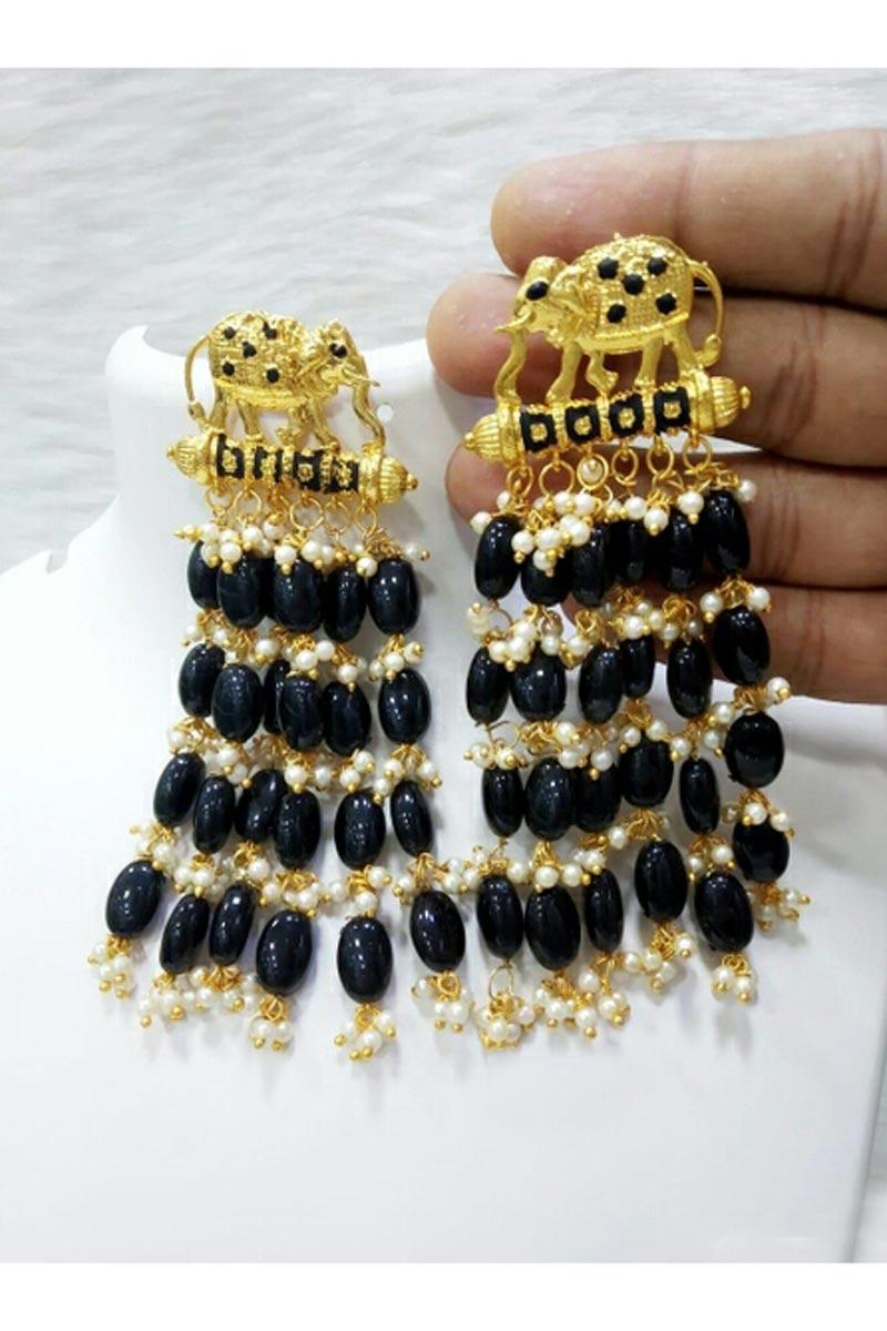 Party Style Black Color Fancy Earrings